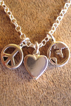 Peace Love Earth - Detail: Charms - Peace, Love and Earth Necklaces & Bracelets - Sterling Silver, Inspirational, Eco-Fashion, Designed to Inspire Positive Change
